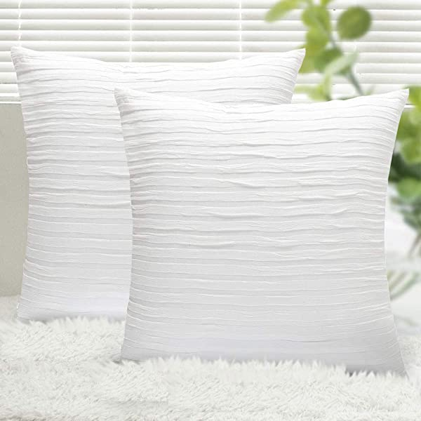 Yeadous Pure White Throw Pillow Covers Case 2 Pack Line Striped 100 Cotton Cushion Cover Soft Decorative Pillow Shams Covers For Sofa Couch Bed Home Decor 20x20 Inches Pure White