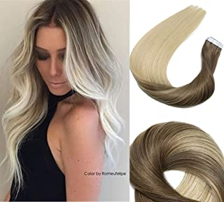Tape In Hair Extensions Human Hair Balayage Ombre Hair 20pcs/50g Per Set Ash Brown Fading to Platinum Blonde Double Sided Tape Skin Weft Remy Silk Straight Hair Glue in Extensions Human Hair 18 Inch