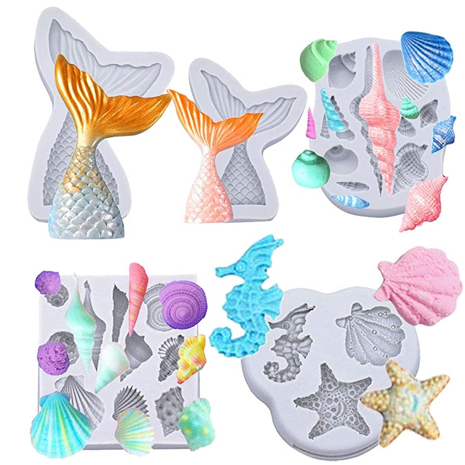 MAMUNU 5 Pack Silicone Seashell Molds Mermaid Tail Molds, Silicone Fondant Mold Chocolate Mold for Decorating Cakes, Chocolate, Candy, Sugar, Jelly (Grey)