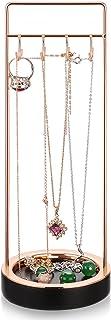 Jewelry Tree Stand Black Resin & Rose Gold Metal- Bracelet & Necklace Jewelry Organizer Display Tree Rack w/Ring Tray (Black1)