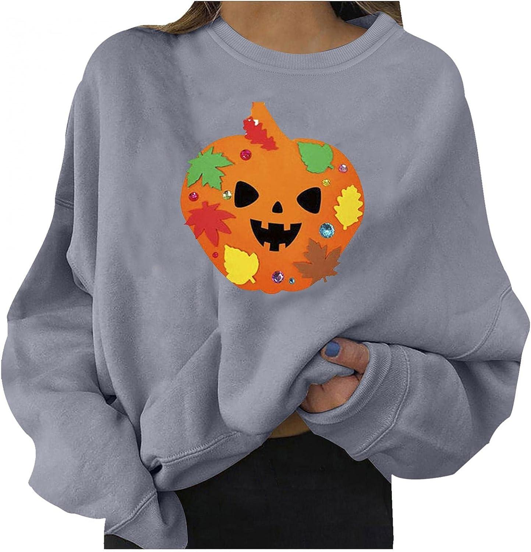 Sweatshirts For Women Pullover, Womens Casual Cute Pumpkin Sweater Halloween Long Sleeve Tops Lightweight Sweatshirt