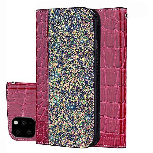 Capa carteira para iPhone feminina, DMaos couro sintético de crocodilo com design brilhante com glitter, capa magnética para o iPhone, iPhone 11, Vermelho