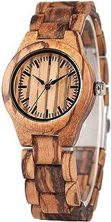 CAIDAI&YL Reloj para Mujer Pantalla Minimalista Esfera Redonda Elegante Reloj de Madera Completo Banda Reloj de Pulsera de...
