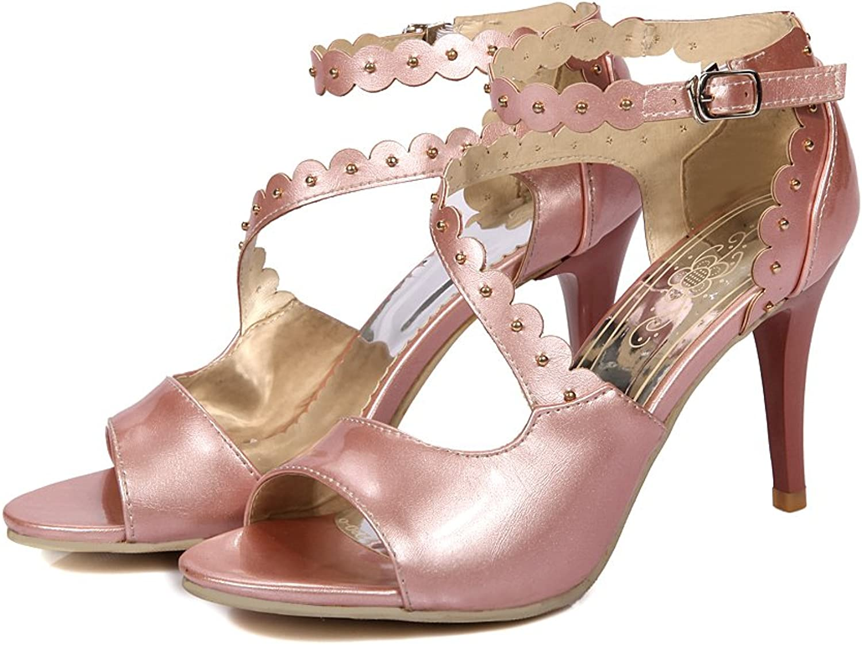AIWEIYi Womens High Heels shoes Rivets Peep Toe Cross Strap Pumps bluee