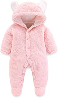 Baby Boys Girls Bodysuit Hooded Fleece Romper Infant Warm Onesies 0-12 Months