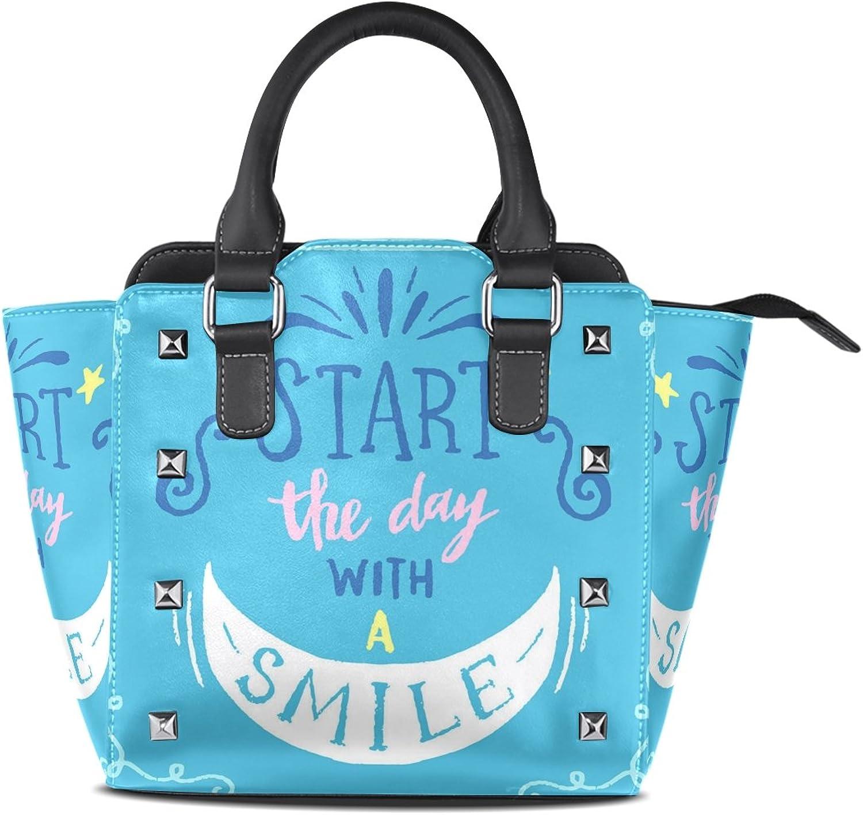 My Little Nest Women's Top Handle Satchel Handbag Start The Day with Smile Ladies PU Leather Shoulder Bag Crossbody Bag