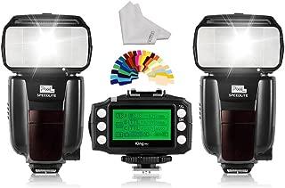 PIXEL Wireless Speedlite Flash 2pcs GN60 +King pro Flash Trigger Transmitter for Nikon D3400 D850 D750 D5600 D7200 D800 Digital SLR Camera+INSEESI Clean Cloth+Color Gels