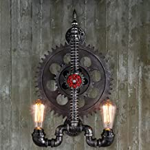 LJL Decorative Wall Light American Water Pipe Gear Wrought Iron Wall lamp Creative Restaurant bar Cafe Personality loft Ru...