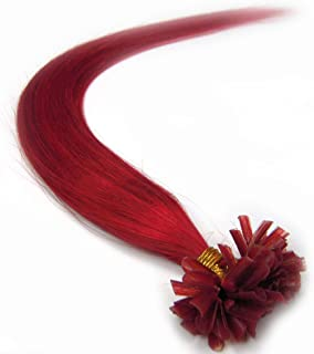 VANLINKE Fusion Keratin Pre Bonded U Nail Tip Remy Real Human Hair Extensions Straight 100s 20inch 0.5g Per Strand (Red)