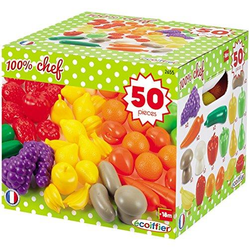 #11 Spielobst und Gemüse aus Kunststoff 50 teiliges Set für Kinder ab 18 Monaten - Spielzeug Obst Kinderküche Kaufladen Zubehör Spielküche