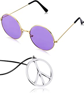 Hippie Dressing Accessory Set Hippie Glasses and Peace Sign Necklace
