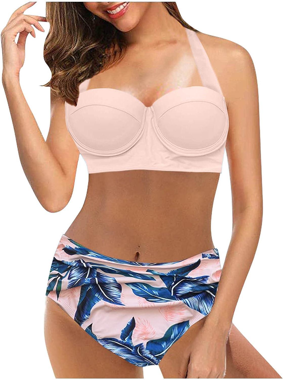 Lroveb Women's Bikini Set High Waisted Halter Bikini Push up Swimsuits Tummy Control Two Piece Bikini