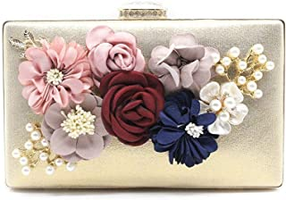 ZYWYB Colorful Flower Clutch Evening Bags for Women Formal Bridal Wedding Clutch Purse Prom Cocktail Party Handbags (Color : E)
