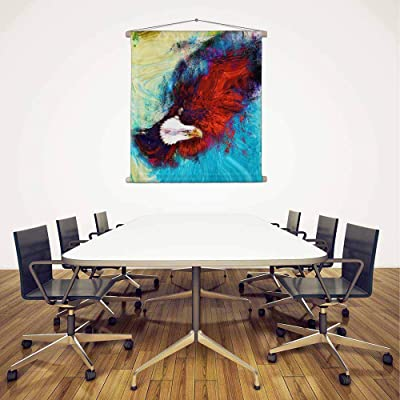 Artzfolio Eagle with Black Feathers Us Symbols Freedom Silk Painting Tapestry Scroll Art Hanging 24 X 25.3Inch