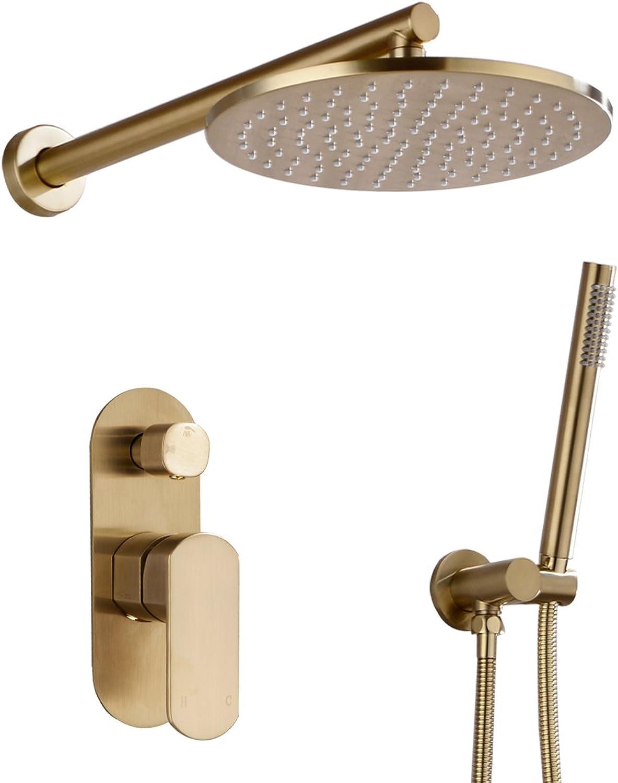 Trustmi Badezimmer Runde 20,3–25,4cm Durchmesser Messing Dusche Wasserhahn-Set Mix mit Grünckter 2Wege Umstellventil Kit Gold, gebürstet