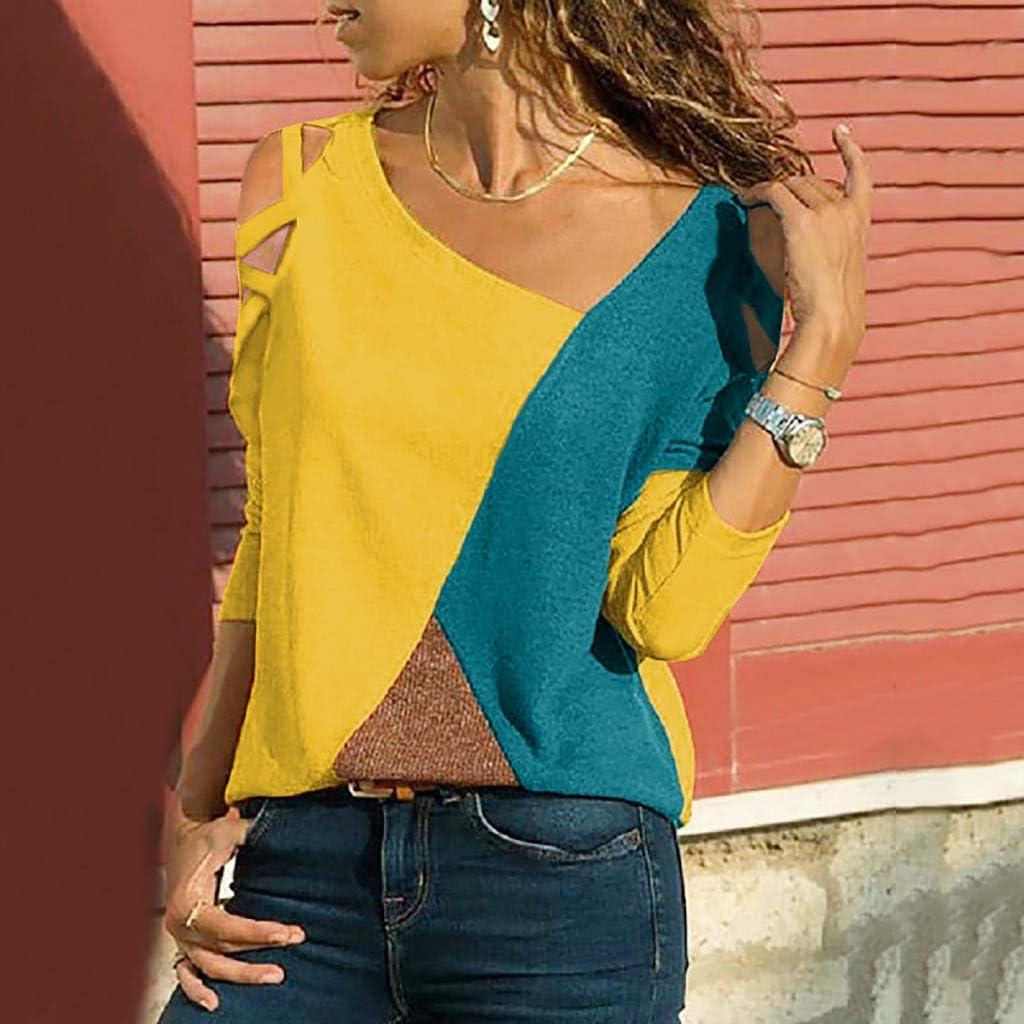 iHENGH Damen Top Bluse Lässig Mode T-Shirt Frühling Sommer Frauen Bequem Blusen Casual Panel Tops Rundhals Lange Ärmel Schulterfrei Gelb