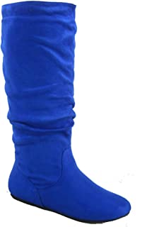 Data-1 Women's Shoes Cute & Comfort Round Toe Flat Heel Slouchy Mid Calf Boot