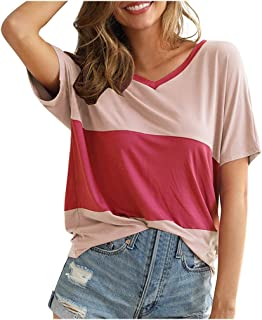 Women's Basic V Neck T Shirts Triple Color Block Stripe Loose Fit Short Sleeve T-Shirt Blouse Tops