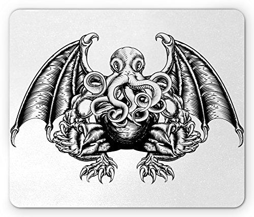 Ambesonne Kraken Mouse Pad, Cthulhu Monster Evil Fictional Cosmic Monster in Woodblock Style Illustration Print, Rectangle Non-Slip Rubber Mousepad, Standard Size, White Black