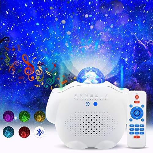 LED Projektor Sternenhimmel Lampe mit Fernbedienung Starry Stern Mond/Wasserwellen-Welleneffekt/Bluetooth Lautsprecher Perfekt für Party Weihnachten Ostern (Weiß) [Energieklasse A+]