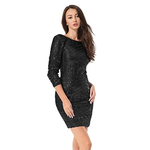 88ed7765 Hiistandd Women Sequin Glitter Long Sleeve Round Neck Backless Bodycon  Stretchy Party Dress
