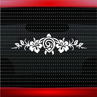 Hibiscus #7 Turtle Cute Hawaiian Car Sticker Truck Window Vinyl Decal COLOR: GREEN