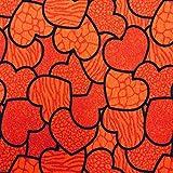 Kt KILOtela Tela de loneta Estampada - Retal de 300 cm Largo x 280 cm Ancho   Corazones - Rojo ─ 3 Metros