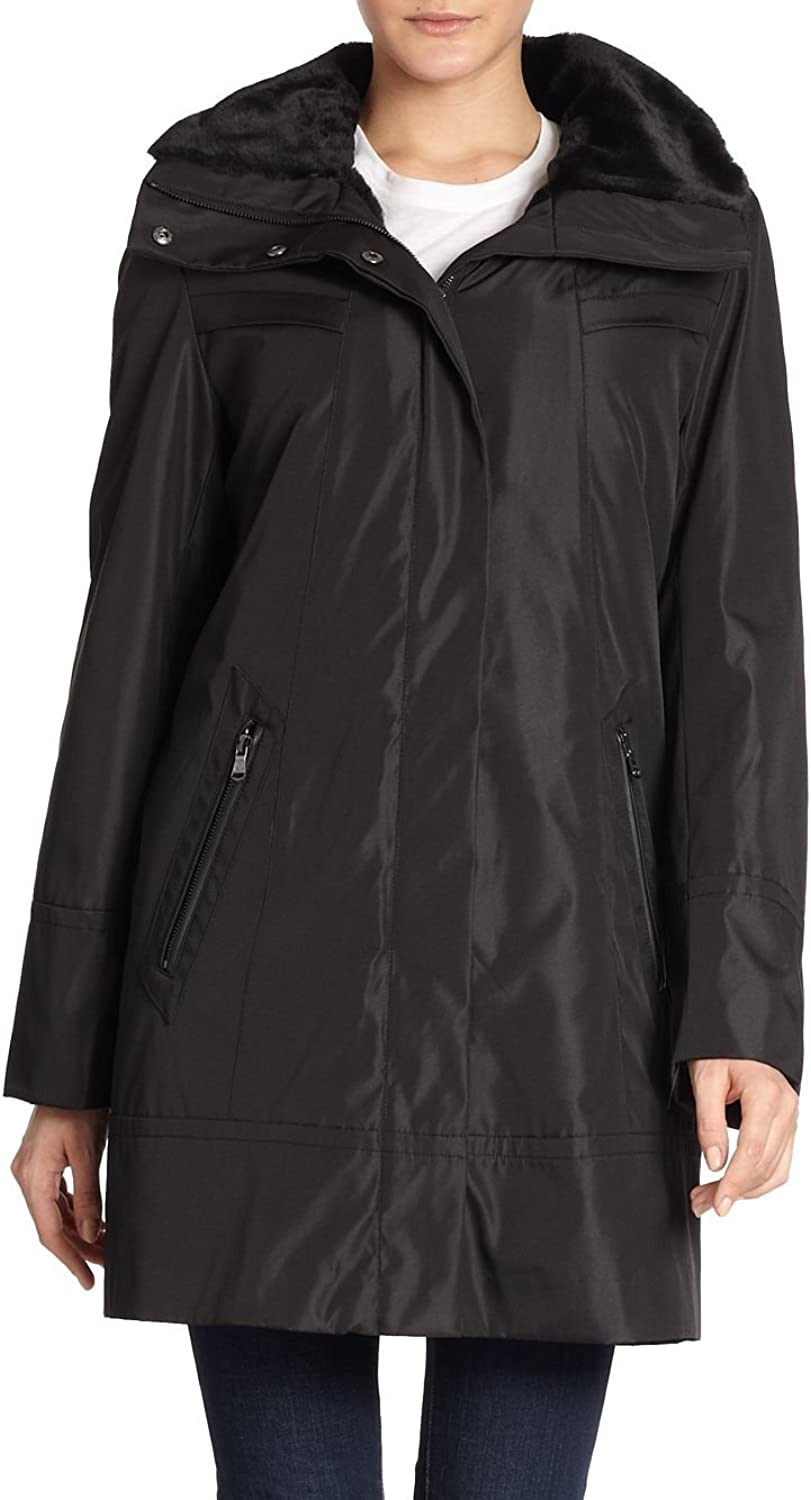 Marc New York Andrew Marc Black Faux Fur Lined 3 4 Aline Basic Coat