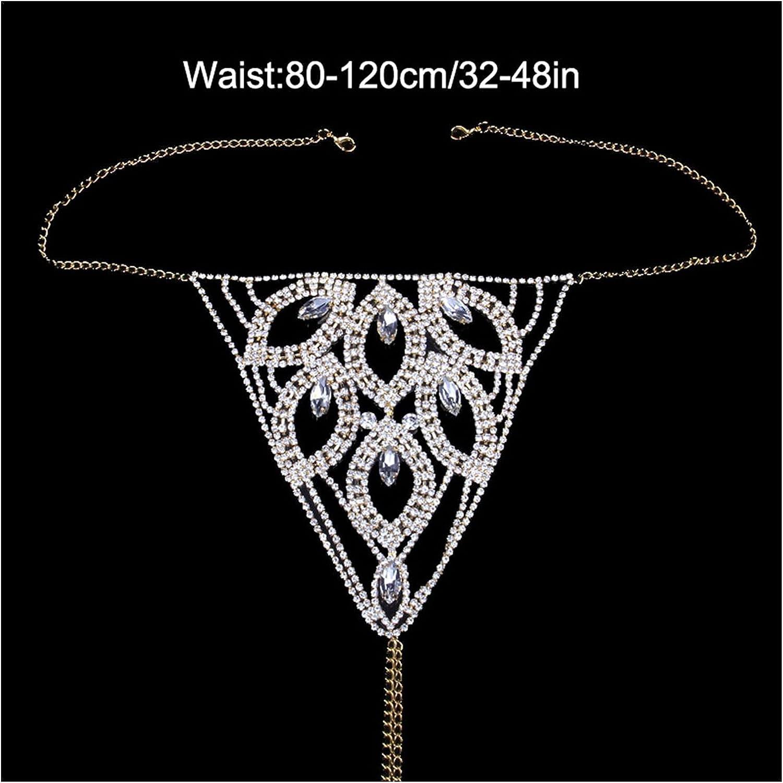 YEZIQ Body Chain- Leaf Shape Crystal Body Chain Sexy Bikini Set for Women Erotic Jewelry Rhinestone Chain Bra and Panties Underwear Set (Main Stone Color : Gold, Metal Color : Bra)
