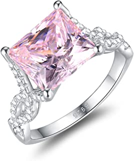 Women's Princess Cut 5.5ct Pink CZ Ring Engagement Wedding 925 Sterling Silver Cocktail Solitaire