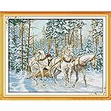 Bordado Contado a Mano Carro en la nieve del punto de cruz patrón del kit Tres White Horse Animales 14ct11ct Count Impreso lienzo bordado Set DIY Crafts Kit de Punto de Cruz Para Costura