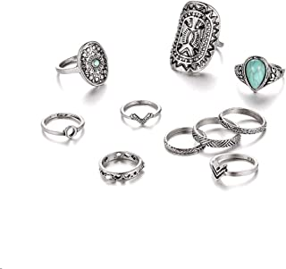 Setita 10 Pieces Stylish Turquoise Joint Knuckle Nail Midi Ring Set Boho Ring Set, Ancient Silver