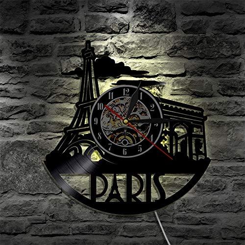 fdgdfgd Classic CD Record Paris City LED Reloj de Vinilo Que Cambia de Color Control Remoto | Reloj de Pared de Bricolaje Luminoso de 7 Colores