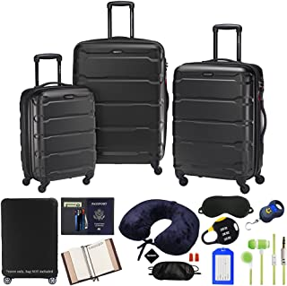 Samsonite 68311-1041 Omni Hardside Luggage Nested Spinner Set 20 Inch, 24 Inch, 28 Inch - Black Bundle w/Deco Gear Luggage Accessory Kit (10 Item)