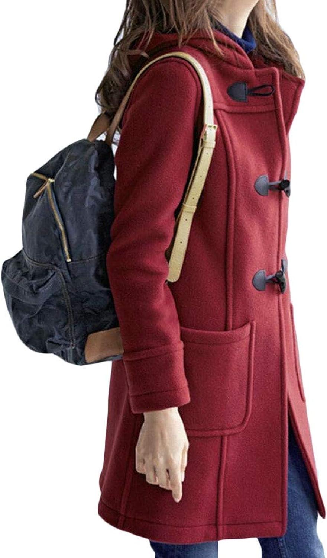 Esast Women Outdoor Trench Coat Wool Blended Pea Coat Hooded Jacket