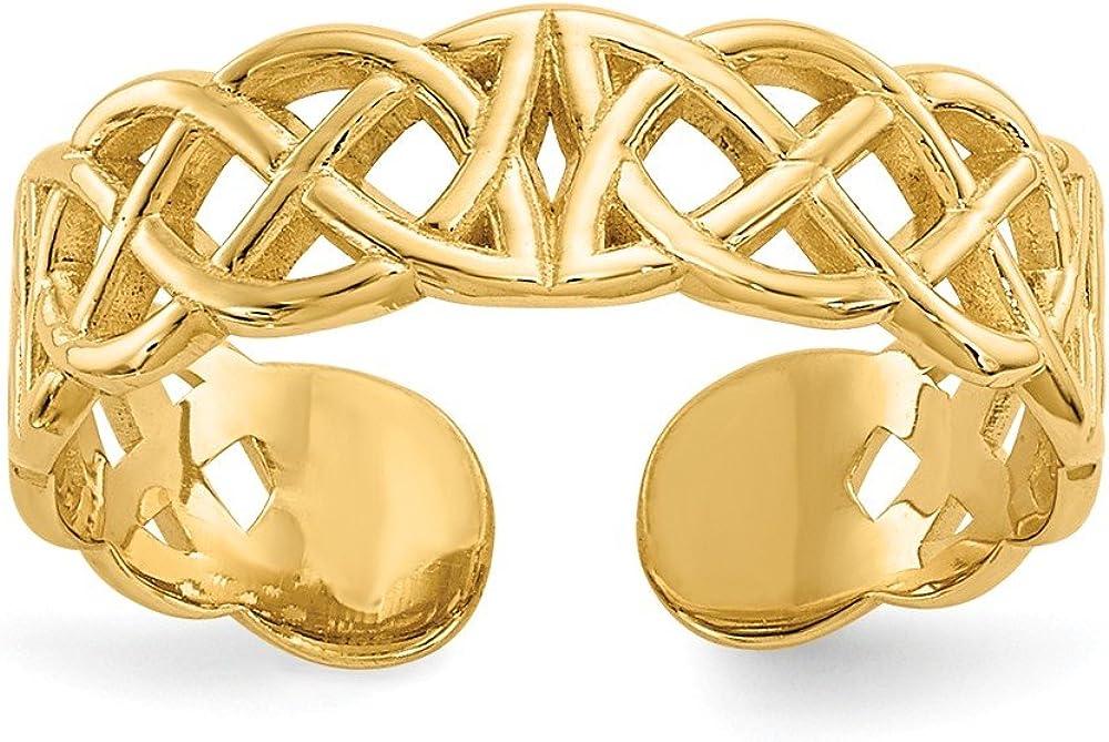 Solid 14k Yellow Gold Celtic Knot Irish Claddagh Toe Ring Adjustable