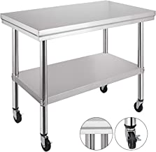Mophorn Stainless Steel Work Table 36x24 Inch with 4 Wheels Commercial Food Prep Worktable with Casters
