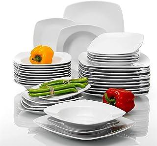 WZHZJ Dîner en porcelaine 36 pièces Dîner Soupe dessert Soupes d'assiettes pour 12 personnes Plaques de dîner