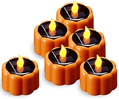 PChero Solar Pumpkin Tea Lights, Waterproof Rechargeable Flameless Flickering Decorative Candles for Outdoor Home Halloween Party Lantern Decorations - 6 Packs