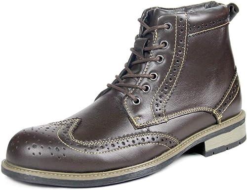 MON5F Home Chaussures Montantes pour Hommes Sangle en Cuir avec avec avec Bottes en Cuir européennes et américaines (Couleur   Brass, Taille   41) 17c