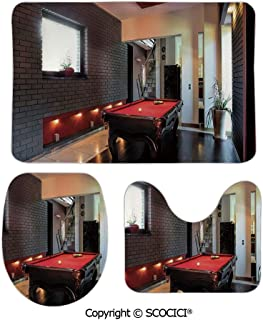 SCOCICI Custom Three-piece Toilet Seat Pad House with Snooker Table Hobby Pool Game Flat Furniture Leisure Time Pri Bathroom Decorative 3 Piece Mat Set Pads Includes Bath Mat,Contour Mat and Lid Cover