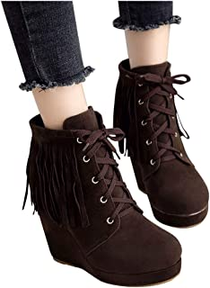 Dainzuy Womens Wedge Boots Classic Casual Outdoor Round Toe Lace-Up Tassel High Heels Booties Shoes