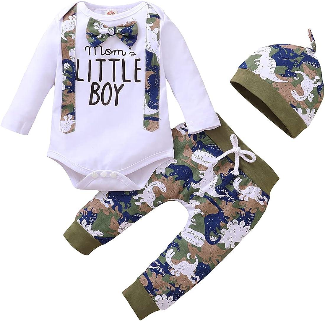 3Pcs Baby Boy Clothes Set Letter Print Long Sleeve Bodysuit + Long Pants + Hat Outfit Set