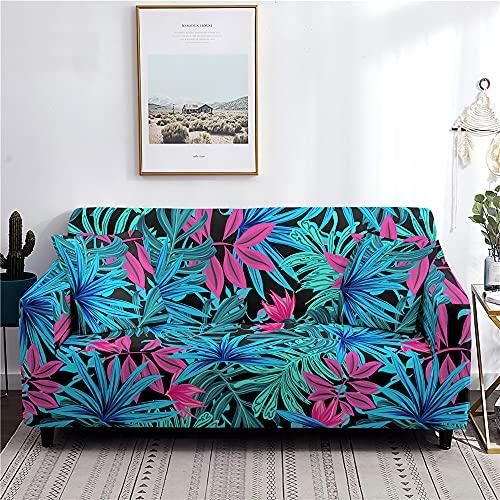 Meiju Fundas de Sofá Elasticas de 1 2 3 4 Plazas Universal Decorativas Funda Cubre Sofas Ajustables, Antideslizante Protector Cubierta de Muebles (Hojas Azules,4 plazas - 235-300cm)