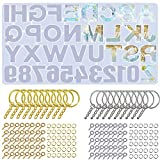 221 Pcs Alphabet Resin Silicone Molds Set Backward Casting Letter Number Epoxy Molds for Resin Keychain Crafts, 20pcs Key Ring+100pcs Screw Eye Pins + 100pcs O Ring