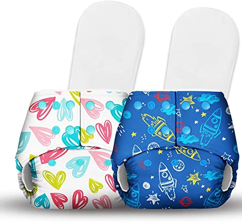 Basic Certified Soft Fleece Lined 2 Pocket Diapers with 2 Wet-Free Insert with Snaps (One Size Adjustable Diapers, 5-...
