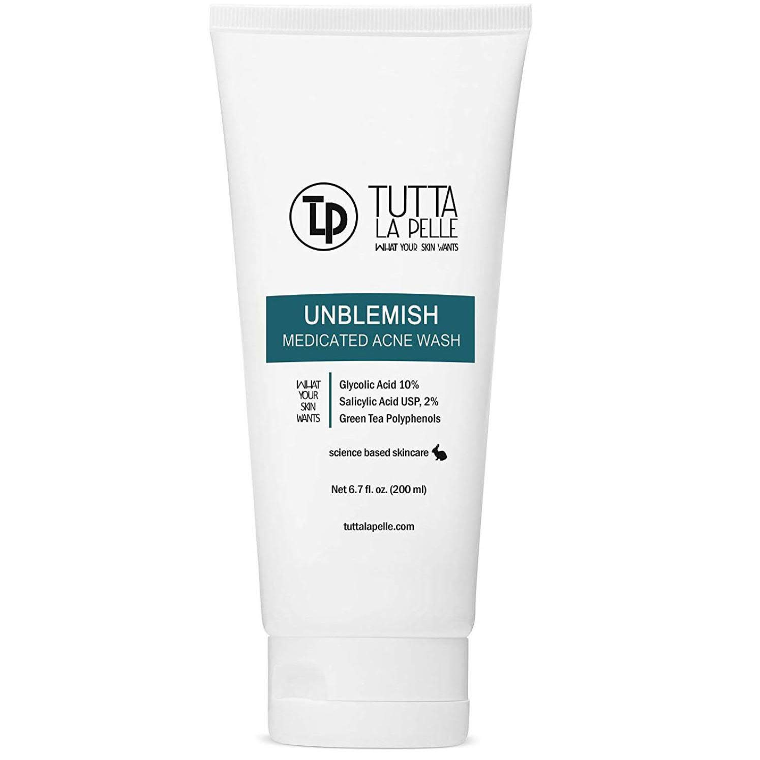 Exfoliating Face Wash Glycolic Acid 2% Salicylic Acid 2% - Medicated Unblemish Cleanser AHA BHA Acne Wash, with calming green tea, oil free, Helps for Acne, Oiliness, Blackheads, Cystic Acne 6.7 oz: Beauty