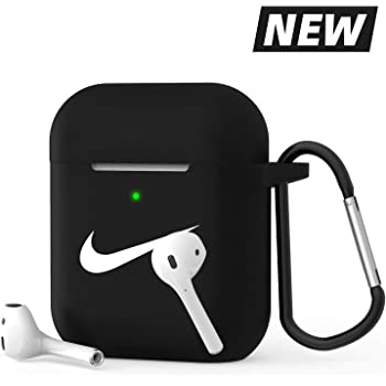 Cute Airpods 2 and 1 Silicone Protective Case Dust Guard Shockproof Cover Skin with Carabiner Seahawks AirPods Accessories Case Cover Compatible for Airpods Wirelss Charging Case Black