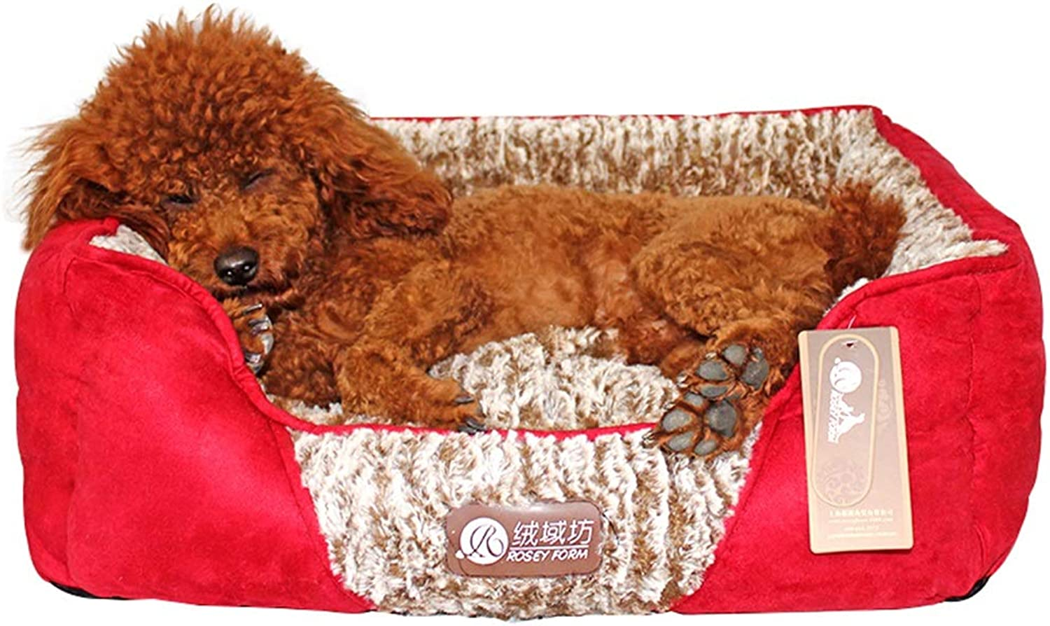 NYDZDM Kennel Red Nest Teddy Small Dog Bed Autumn and Winter Removable Washable Pet Mat