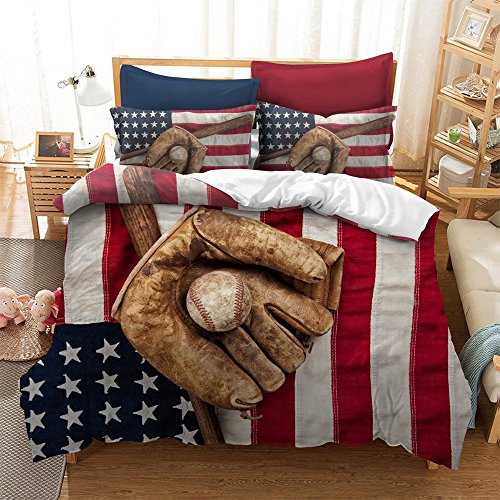 "Fascinating Baseball Glove American Flag Cotton Microfiber 3pc 90""x90"" Bedding Quilt Duvet Cover Sets 2 Pillow Cases Queen Size"